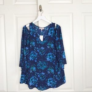 Philosophy Floral Cold Shoulder Tunic Top NWT